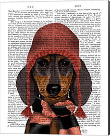 Dachshund in Pink Hat and Scarf by Fab Funky Canvas Art