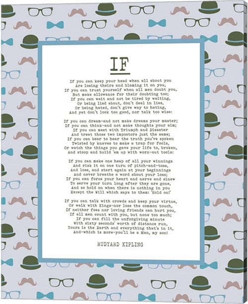 Metaverse If By Rudyard Kipling - Retro Blue By Quote Master Canvas Art