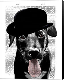 Black Labrador in Bowler Hat by Fab Funky Canvas Art