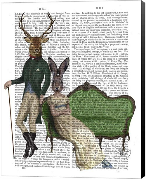 Metaverse Mr Deer And Mrs Rabbit By Fab Funky Canvas Art