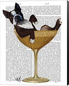 Boston Terrier In Cocktail Glass By Fab Funky Canvas Art