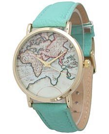 World Map Leather Strap Watch