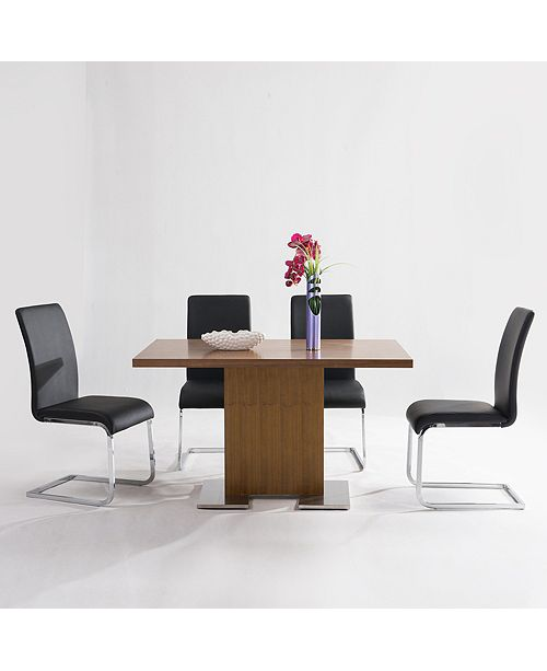 Armen Living Zenith Dining table:  In Walnut Wood And Brushed Stainless Steel Finish
