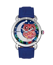 Bertha Quartz Ashley Collection Silver And Blue Leather Watch 38Mm