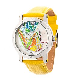 Bertha Quartz Isabella Collection Silver And Yellow Leather Watch 38Mm