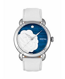 Bertha Quartz Daphne Collection Silver And White And Black Leather Watch 38Mm