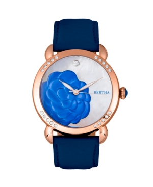 Quartz Daphne Collection Rose Gold And Blue Leather Watch 38Mm