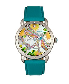 Quartz Jennifer Collection Silver And Turquoise Leather Watch 38Mm