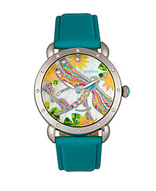 Bertha Quartz Jennifer Collection Silver And Turquoise Leather Watch 38Mm