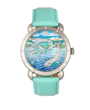 Quartz Estella Collection Silver And Turquoise Leather Watch 38Mm