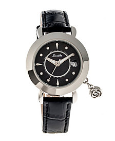 Bertha Quartz Rose Collection Silver And Black Leather Watch 35Mm