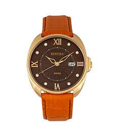 Bertha Quartz Amelia Collection Orange Leather Watch 38Mm