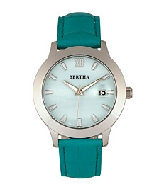 Bertha Quartz Eden Collection Turquoise And Silver Leather Watch 38Mm