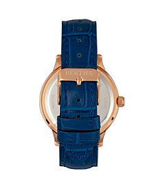 Bertha Quartz Eden Collection Blue And Rose Gold Leather Watch 38Mm