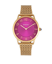 Bertha Quartz Abby Collection Rose Gold And Fuchsia Stainless Steel Watch 33Mm