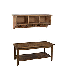 """Modesto 48"""" Reclaimed Wood Entryway Wall Coat Hooks with Storage Cubbies"""