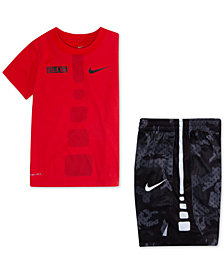 Nike Toddler Boys Dri-FIT Elite Graphic-Print T-Shirt & Camo-Print Shorts