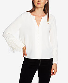1.STATE Fringed-Sleeve Blouse