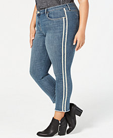 Style & Co Plus Size Racing-Stripe Slim-Fit Jeans, Created for Macy's