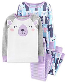Carter's Baby Girls 4-Pc. Bears Cotton Pajamas