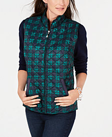 Karen Scott Petite Size Plaid Puffer Vest, Created for Macy's