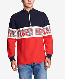 Tommy Hilfiger Denim Men's Half-Zip Graphic Sweater