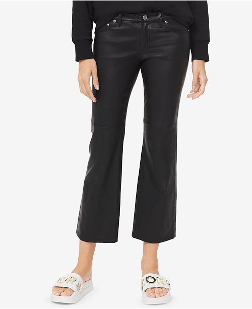 Michael Kors Leather Crop-Flare Pants