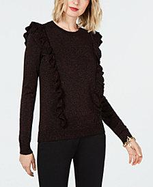 MICHAEL Michael Kors Metallic Ruffle-Detail Sweater