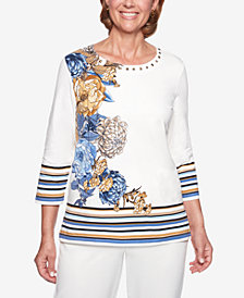 Alfred Dunner Floral-Print Striped Embellished Top