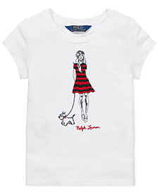 Polo Ralph Lauren Little Girls Embroidered Cotton T-Shirt