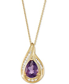 "Amethyst (1 ct. t.w.) & Diamond (1/10 ct. t.w.) 18"" Pendant Necklace in 14k Gold"
