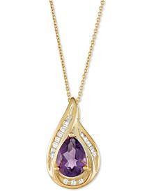 "Amethyst (1 ct. t.w.) & Diamond (1/10 ct. t.w.) 18"" Pendant Necklace in 14k Gold"