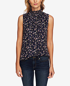 CeCe Sleeveless Printed Mock-Neck Blouse