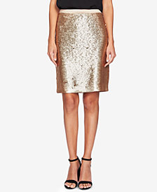 CeCe Allover Sequin Pencil Skirt