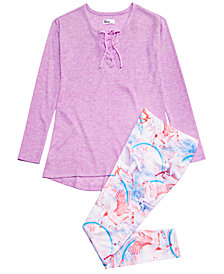 Epic Threads Big Girls Lace-Up Top & Unicorn Leggings, Created for Macy's