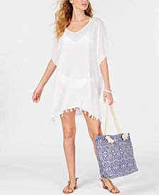 DKNY Chiffon Pom-Pom Caftan Cover-Up, Created For Macy's
