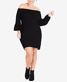City Chic Trendy Plus Size Off-The-Shoulder Sweater Dress