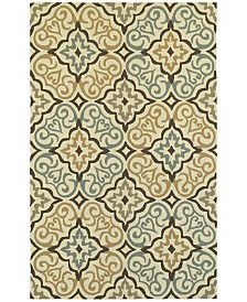CLOSEOUT! Tommy Bahama Home   Atrium Indoor/Outdoor 51106 Ivory/Brown 5' x 8' Area Rug