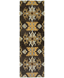"Tommy Bahama Home  Jamison 53305 Black/Gold 2'6"" x 8' Runner Area Rug"