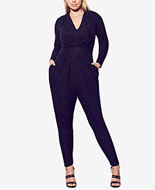 City Chic Trendy Plus Size Metallic Jumpsuit