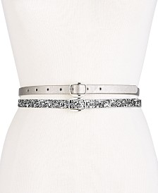 I.N.C. Glitter & Lace 2-for-1 Skinny Belts, Created for Macy's