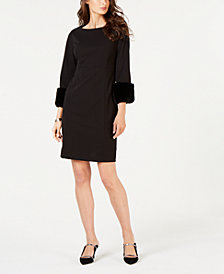Alfani Petite Faux-Fur-Cuff Shift Dress, Created for Macy's