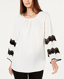 Alfani Embellished Pleated-Neck Top, Created for Macy's