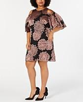 c25f66cafb Jessica Howard Plus Size Floral Burnout Cold-Shoulder Dress