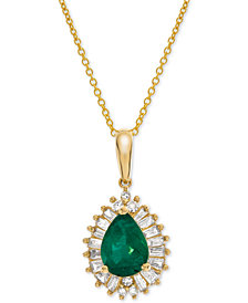 """Certified Ruby (3/4 ct. t.w.) & Diamond (1/4 ct. t.w.) 16"""" Pendant Necklace in 14k Gold(Also Available in Emerald & Sapphire)"""