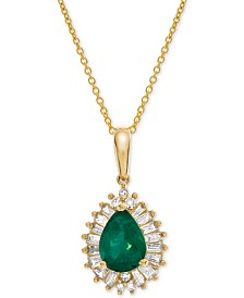 "Emerald (3/4 ct. t.w.) & Diamond (1/4 ct. t.w.) 16"" Pendant Necklace in 14k Gold (Also Available in Certified Ruby & Sapphire)"