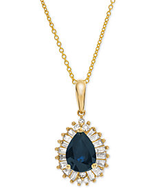 "Certified Ruby (3/4 ct. t.w.) & Diamond (1/4 ct. t.w.) 16"" Pendant Necklace in 14k Gold(Also Available in Emerald & Sapphire)"