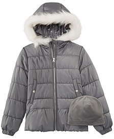 Weathertamer Big Girls Quilted Puffer Jacket & Matching Hat