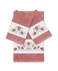 Linum Home Bella 3-Pc. Embroidered Turkish Cotton Bath and Hand Towel Set