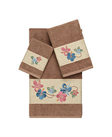 Linum Home Caroline 3-Pc. Embroidered Turkish Cotton Towel Set